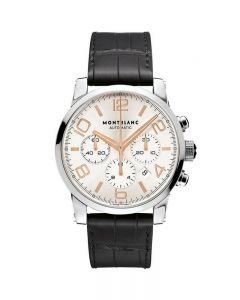 Orologio Uomo 101549 Chronografo Chrono Timewalker movimento a vista Acciaio Cinturino coccodrillo quadrante bianco indici rosati datario