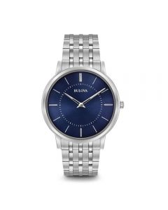 Orologio Bulova Classico 96A188 Quarzo Watch Bracciale Acciaio Quadrante Blu Solo Tempo
