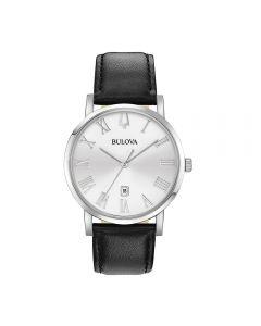 Orologio Uomo Bulova Classic Clipper Quarzo Numeri Romani Quadrante Argento Cinturino Pelle Watch