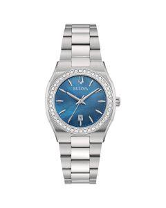 96R246 Bulova Surveyor Lady Diamanti Orologio Donna Bracciale Acciaio Quadrante Blu Madreperla